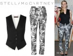 Diane Kruger's Stella McCartney 'Daisy' Vest And Stella McCartney 'Christine' Floral Print Tapered Pants