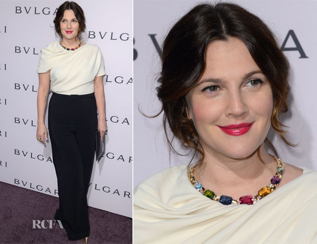 Drew Barrymore In Max Mara - BVLGARI Celebration of Elizabeth Taylor's collection of BVLGARI Jewelry