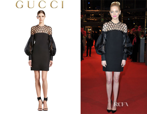 Emma Stone's Gucci 'Hive Tulle' Puff Sleeve Silk Dress