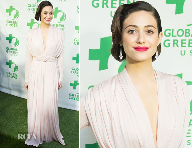 Emmy Rossum In Sophia Kokosalaki - Global Green USA's 10th Annual Pre-Oscar Party