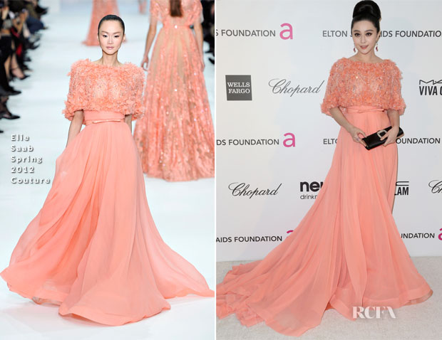 Fan Bingbing In Elie Saab Couture - 2013 Elton John AIDS Foundation Oscars Party