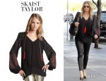 Fergie's Skaist Taylor Embroidered Beaded Peasant Top