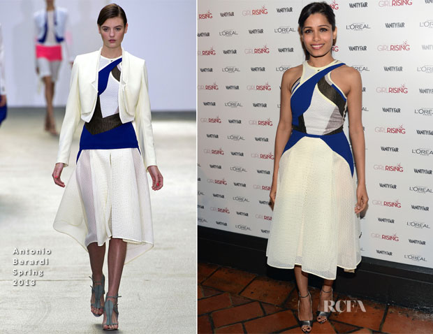 Freida Pinto In Antonio Berardi - Vanity Fair and L'Oréal Paris Party