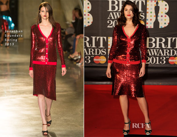 Gemma Arterton In Jonathan Saunders - Brit Award 2013