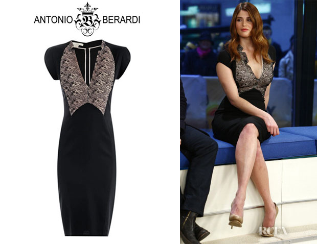 Gemma Arterton's Antonio Berardi Lace Detail Fitted Dress