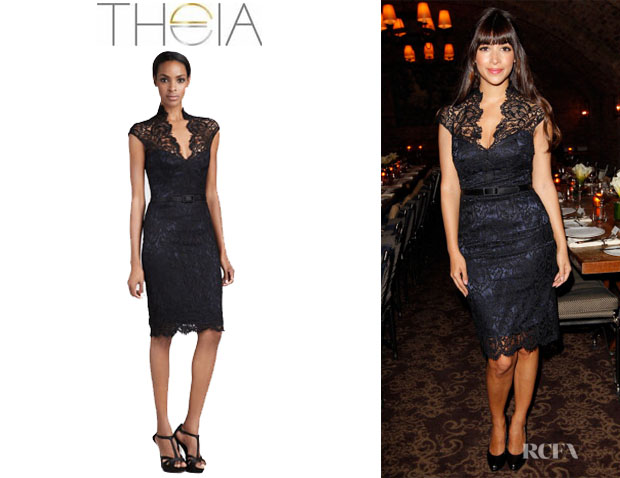 Hannah Simone's Theia Lace Cocktail Dress