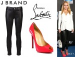 Hayden Panettiere's J Brand Leather Leggings And Christian Louboutin Flo Patent Pumps
