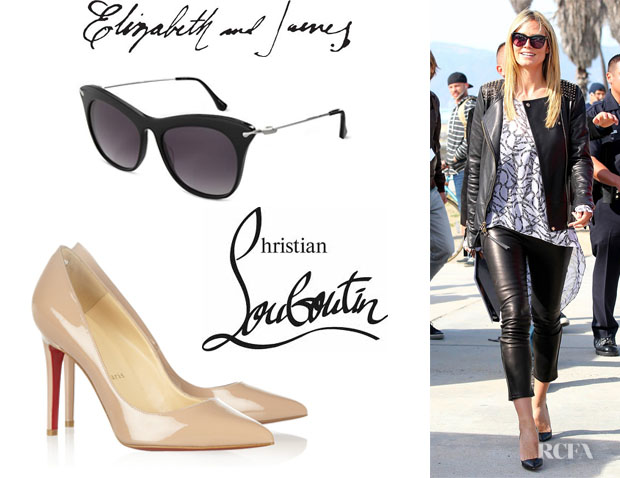 Heidi Klum's Christian Louboutin 'Pigalle' Leather Pumps And Elizabeth and James Fairfax Sunglasses