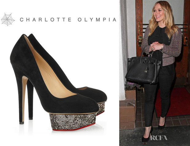 Hilary Duff's Charlotte Olympia 'Dolly' Swarovski Crystal Embellished Pumps