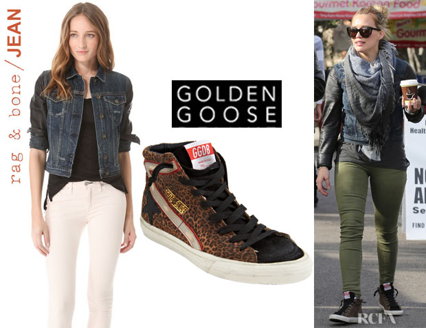 Hilary Duff's Rag & BoneJEAN Jacket With Leather Sleeves and Golden Goose Leopard Suede Slide Sneakers