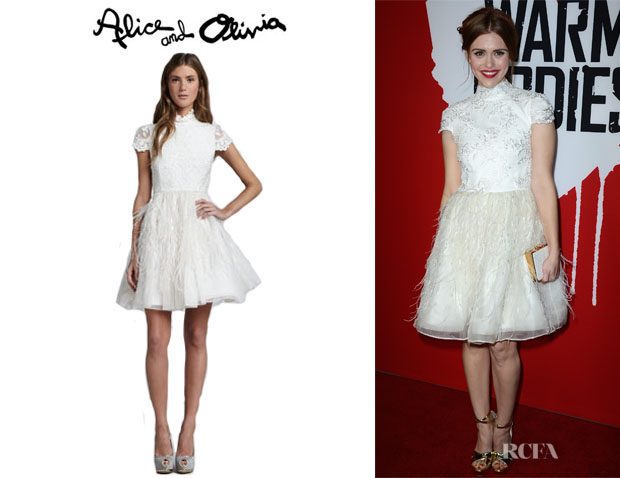 Holland Roden's Alice + Olivia Feather Skirt Open Back Dress