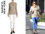 Jennifer Garner's Barneys New York Button Shoulder Sweater