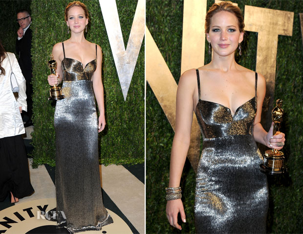 Jennifer Lawrence In Calvin Klein - 2013 Vanity Fair Party