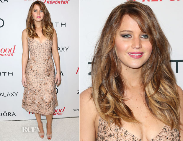 Jennifer Lawrence In Versace - The Hollywood Reporter Nominees' Night 2013