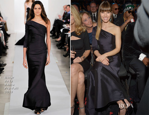 Jessica Biel In Oscar de la Renta - 2013 Grammy Awards