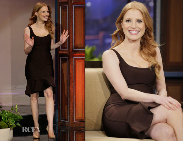 Jessica Chastain In Hervé L Leroux - The Tonight Show With Jay Leno