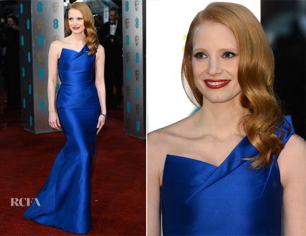 Jessica Chastain In Roland Mouret - 2013 BAFTA Awards
