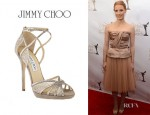 Jessica Chastain's Jimmy Choo Glitter and Lace Sandals