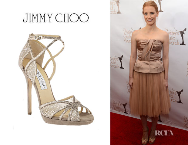 Jessica Chastain's Jimmy Choo Glitter and Lace Sandals1
