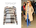 Jessica Chastain's Topshop Knitted Graphic Print Jumper