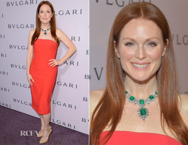 Julianne Moore In Alexander McQueen - BVLGARI Celebration of Elizabeth Taylor's collection of BVLGARI Jewelry