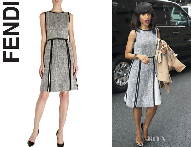 Kerry Washington's Fendi Tweed Sleeveless Crewneck Dress