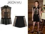 Kristen Stewart's Jason Wu Leather And Lace Top And Jason Wu High-Waisted Shorts