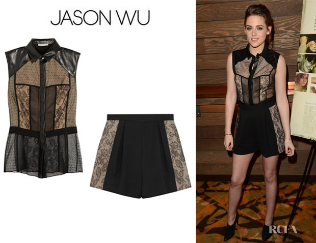 Kristen Stewart's Jason Wu Leather-Trimmed Lace And Tulle Top And Jason Wu Lace-Paneled High-Waisted Shorts