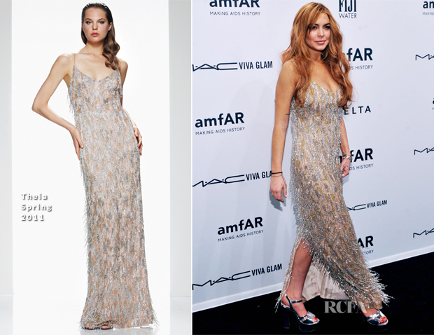 Lindsay Lohan In Theia - amfAR New York Gala To Kick Off Fall 2013 Fashion Week