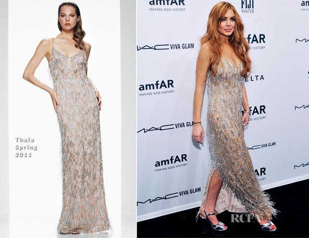 Lindsay Lohan In Theia - amfAR New York Gala To Kick Off ...