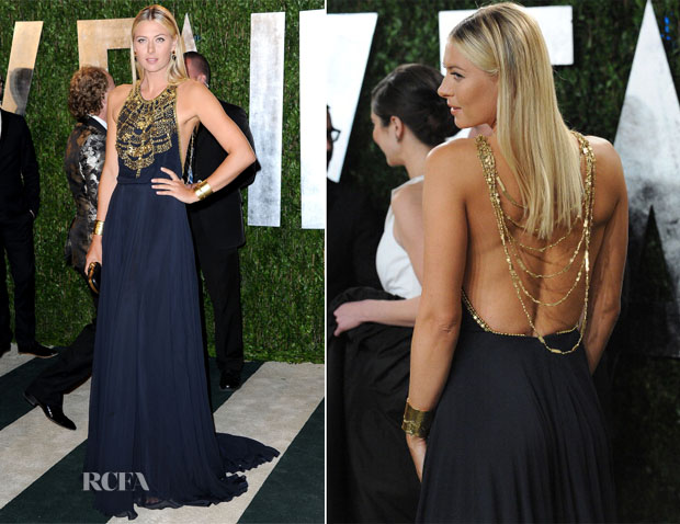 Maria Sharapova In Amanda Wakeley - 2013 Vanity Fair Party