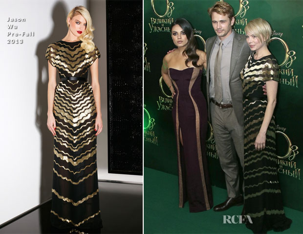 Mila Kunis In Atelier Versace & Michelle Williams In Jason Wu - 'Oz The Great And Powerful' Moscow Premiere