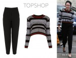 Miley Cyrus' Topshop Knitted 'Mono Morrocan' Crop Jumper And Topshop Premium Peg Leg Trousers