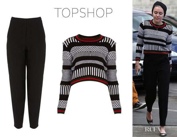 Miley Cyrus' Topshop Knitted Mono Morrocan Crop Jumper And Topshop Premium Peg Leg Trousers