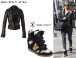 Nicky Hilton's Balenciaga Biker Jacket And Isabel Marant 'Bayley' High Top Sneakers