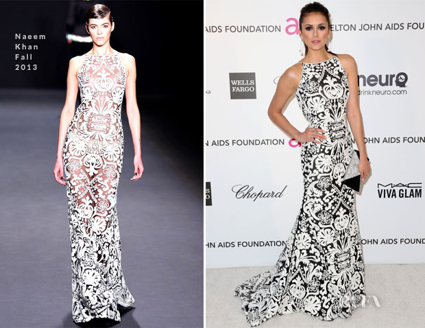Nina Dobrev In Naeem Khan - 2013 Elton John AIDS Foundation Oscars Party