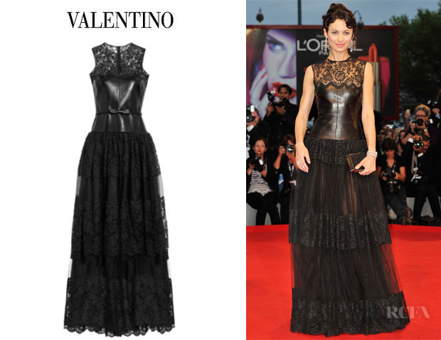 Olga Kurylenko's Valentino Leather, Lace And Tulle Gown