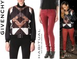Rihanna's Givenchy Paisley Bomber Jacket And Habitual 'Alice' Skinny Jeans
