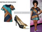 Solange Knowles' Ostwald Helgason Striped Silk Top And Nicholas Kirkwood Leather Pumps