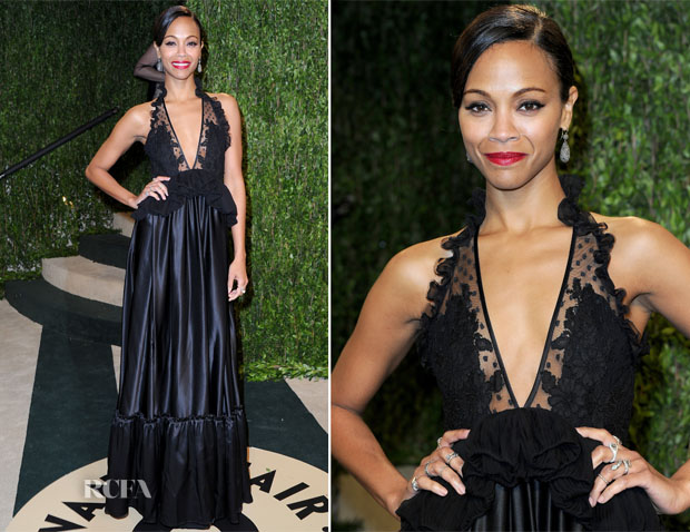 Zoe Saldana In Givenchy - 2013 Vanity Fair Party