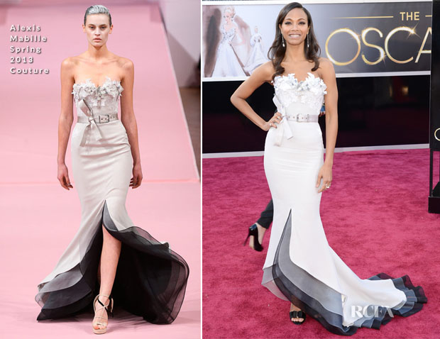 Zoe Saldana In Alexis Mabille Couture 2013 Oscars Red