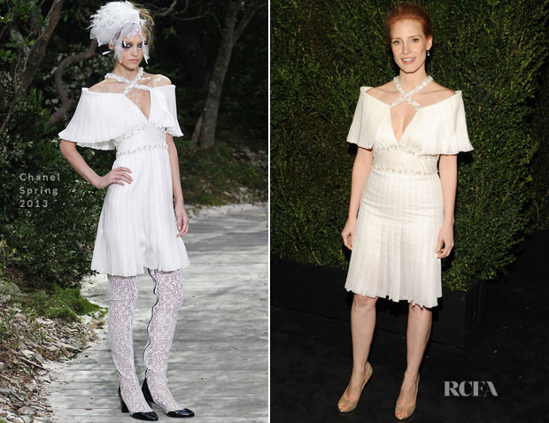 Jessica Chastain In Chanel - 2013 Chanel Pre-Oscar Dinner