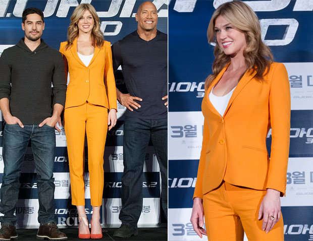 Adrianne Palicki In Moschino Cheap & Chic - 'G I Joe Retaliation' Seoul Press Conference