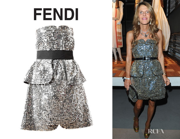 Anna Dello Russo's Fendi Strapless Raised Sequin Dress