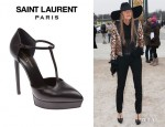 Anna Dello Russo's Saint Laurent 'Paris' Platform T-Strap Pumps