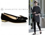 Anne Hathaway's Charlotte Olympia 'Kitty' Embroidered Velvet Slippers