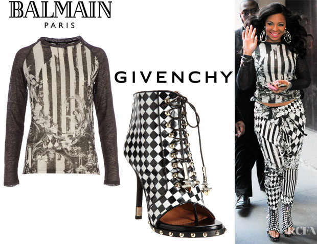 Ashanti's Balmain Long Sleeve Baseball Top And Givenchy Ankle Boots