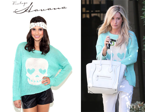 Ashley Tisdale's Vintage Havana Skull Sweater