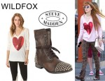 Bella Thorne's Wildfox Couture Sequin Heart Sweater And Steve Madden 'Tarnney' Boots
