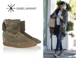 Cameron Diaz' Isabel Marant 'Basley' Perforated Suede Wedge Boots